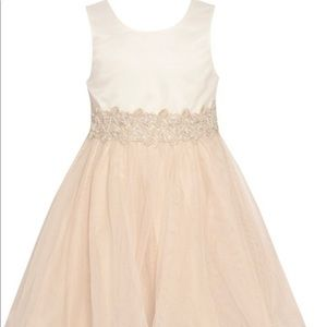 GIRLS TAUPE EMBROIDERED WAIST OVERLAID EASTERDRESS